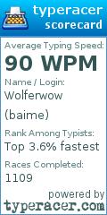 TypeRacer.com scorecard for user baime