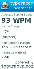 TypeRacer.com scorecard for user bryans