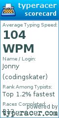 TypeRacer.com scorecard for userder=