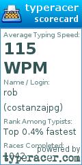 TypeRacer.com scorecard