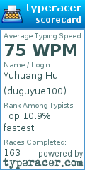 TypeRacer.com scorecard for user duguyue100