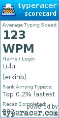 TypeRacer.com scorecard for user erkinb