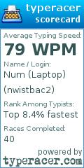 TypeRacer.com scorecard for user nwistbac2