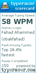 TypeRacer.com scorecard for user obakfahad