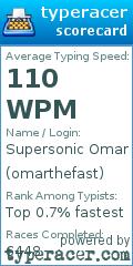 TypeRacer.com scorecard for user omarthefast