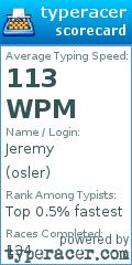 TypeRacer.com scorecard for user osler