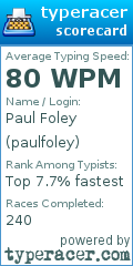 TypeRacer.com scorecard for user paulfoley