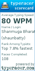 TypeRacer.com scorecard for user shaunbatty