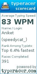TypeRacer.com scorecard for user speedycat_
