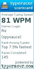 TypeRacer.com scorecard for user Riza