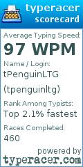 TypeRacer.com scorecard for user tpenguinltg