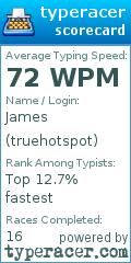 TypeRacer.com scorecard for user truehotspot