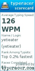 TypeRacer.com scorecard for user yetieater